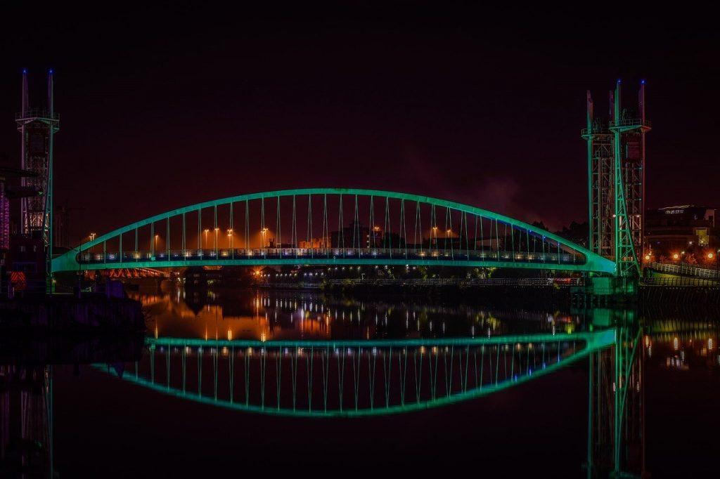 bridge, manchester, reflection